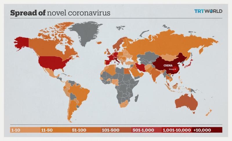 İşte koronavirüsün görüldüğü ülkeler / Harita kaynak: TRT World