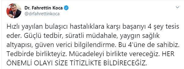 Sağlık Bakanı Fahrettin Koca, sosyal medyadan açıklama yaptı.