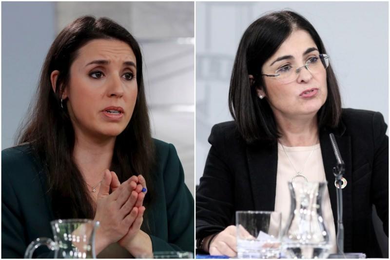 Irene Montero (solda) Carolina Darias(sağda)