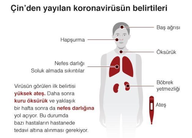 Koronavirüsün belirtileri. Kaynak: BBC.