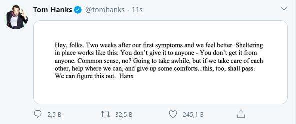 Tom Hanks iyileşti