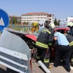 Edirne'deki trafik kazasında anne ile oğlu yaralandı