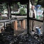Hatay'da taksi durağında yangın
