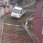 Merdivenlerden inen sürücü gözaltına alındı