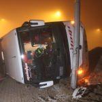 Konya'da yolcu otobüsü refüje devrildi: 11 yaralı
