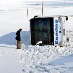 Ardahan'da yolcu otobüsü devrildi: 4 yaralı
