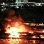 Rusya'da dev gemi alev alev yanıyor