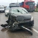 Samsun'daki trafik kazası araç kamerasında