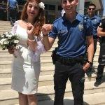 Polis damat, nişanlısını nikaha kelepçeyle getirdi