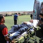 Ambulans helikopter yaralı işçi için havalandı
