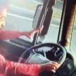 Direksiyon başında uyuyan şoför kamerada!