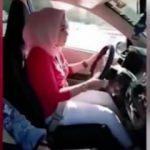 Kadın şoför vites değiştirir gibi el freni çekti!