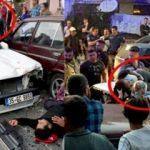 Korkunç kaza! Aracın tavanına düştü