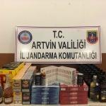 Artvin'de gümrük kaçağı sigara ve içki ele geçirildi