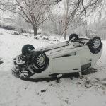 Afşin'de kar yağışı kazaya neden oldu