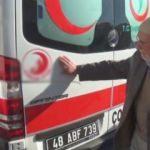 Ambulanstaki yazıyı görünce gözyaşlarını tutamadı