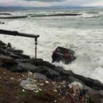 Trabzon'da lüks cip denize uçtu