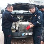 Minibüsün motoruna sıkışan kedi kurtarıldı