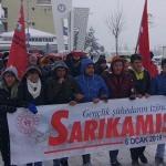 Bozkır'da Sarıkamış şehitleri kar yağışı altında anıldı