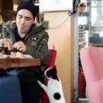 Acıkan kedi, pastanedeki müşteriden böyle yiyecek istedi