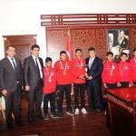 Mehmetbeyoğlu, sporcuları makamına kabul etti