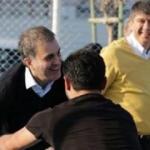 Ömer Çelik ile Menderes Türel'in basketbol keyfi