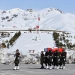 Hakkari'de hayatını kaybeden asker için tören