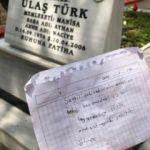 Şehit mezarına bırakılan not duygulandırdı