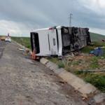 Yolcu otobüsü devrildi: 6 yaralı