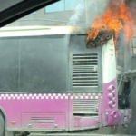 Sefaköy E-5 üzerinde belediye otobüsü alev aldı!