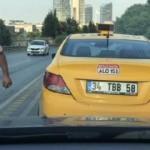 İstanbul'da yol kesip tehdit eden taksici kamerada