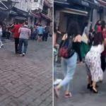 Taksim'de iki farklı grup arasında kavga!
