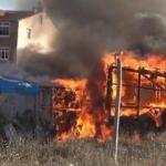 Arnavutköy'de baraka alev alev yandı