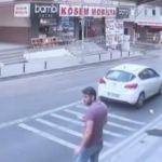 4. katta cam silen kadın pencereden otomobilin üzerine düştü!