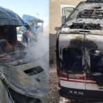 Oksijen tüpü patladı ambulans yandı