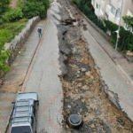 Üsküdar'da yağıştan dolayı yol çöktü!