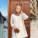 Aybüke Demirci'nin tarzı 2019 sonbahar tesettür gömlek modellerinde