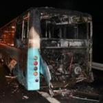 Halk otobüsü TEM Otoyolunda alev alev yandı
