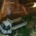 Edremit'te çaya uçan minibüsün sürücüsü bulunamadı