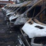 Rusya'da 13 minibüs aynı anda küle döndü