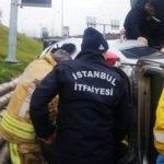 Pendik'te takla atan araçta sıkışan kadını itfaiye kurtardı