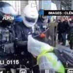 Paris'te polisin üstüne öksüren eylemciye sert müdahale!