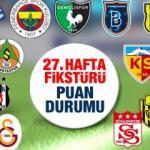 Süper Lig  güncel puan durumu ve 27. hafta fikstürü