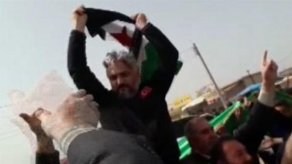 Tel Rıfat'ta halk, Türk polisini omzunda taşıdı