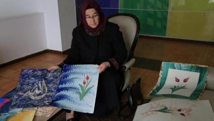 Latin Amerikalılara ebru sanatını öğreten Türk kadın