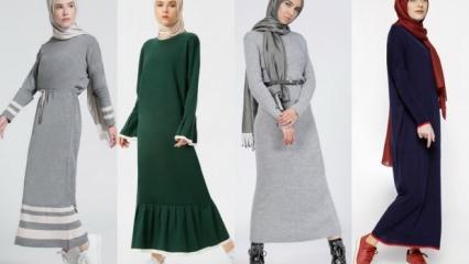 2018 yılının triko elbise modelleri