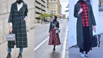 Yeni sezon ekoseli tesettür kıyafet modelleri