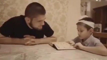 Khabib'den minik çocuğa Kur'an dersi