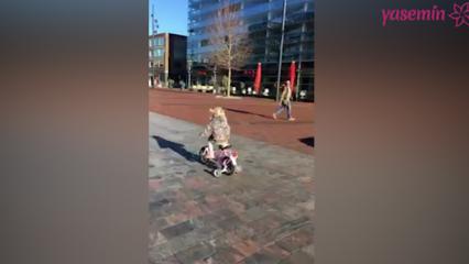Bisikletli küçük kız polislerle yarıştı!