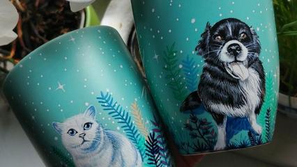 Evcil hayvanlarınızı kupalarınıza resmeden dekoratif çalışmalar